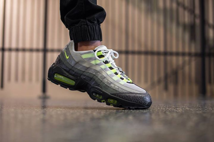 new concept 0298e 6e173 On foot look at the Nike Air Max 95 Neon Safari. Available now! http