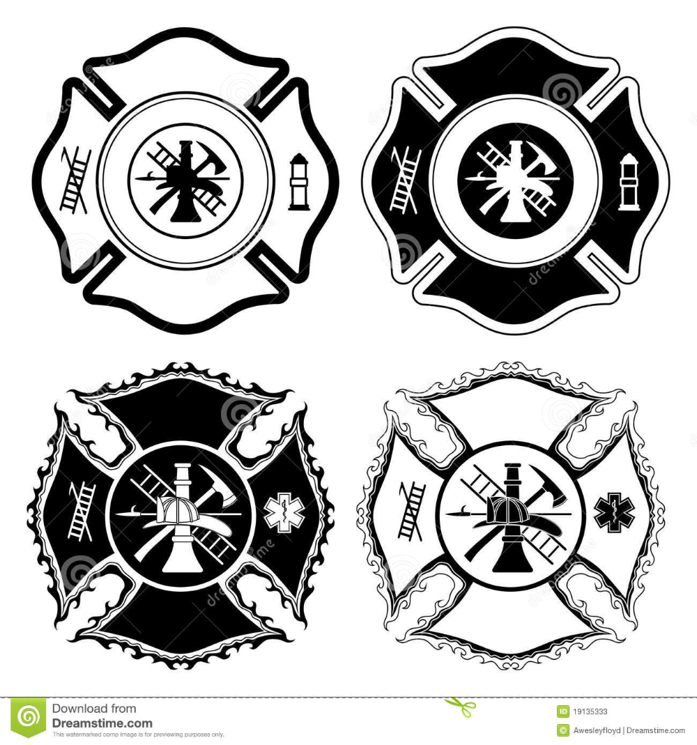 Illustration About Illustration Of Four Version Of The Firefighter Cross Symbol In One Color Illustration Of Ladder Firefighter Cross Firefighter Cross Symbol