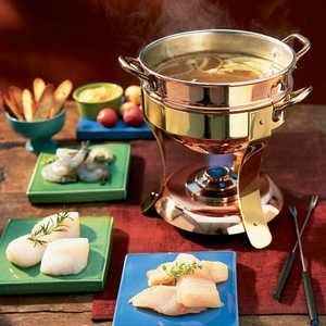 BOUILLABAISSE BROTH FONDUE 1 teaspoon olive oil 1 cup chopped onion 1 cup chopped fennel 3 peeled, pressed cloves garlic 5 cups fat... #brothfonduerecipes BOUILLABAISSE BROTH FONDUE 1 teaspoon olive oil 1 cup chopped onion 1 cup chopped fennel 3 peeled, pressed cloves garlic 5 cups fat... #brothfonduerecipes