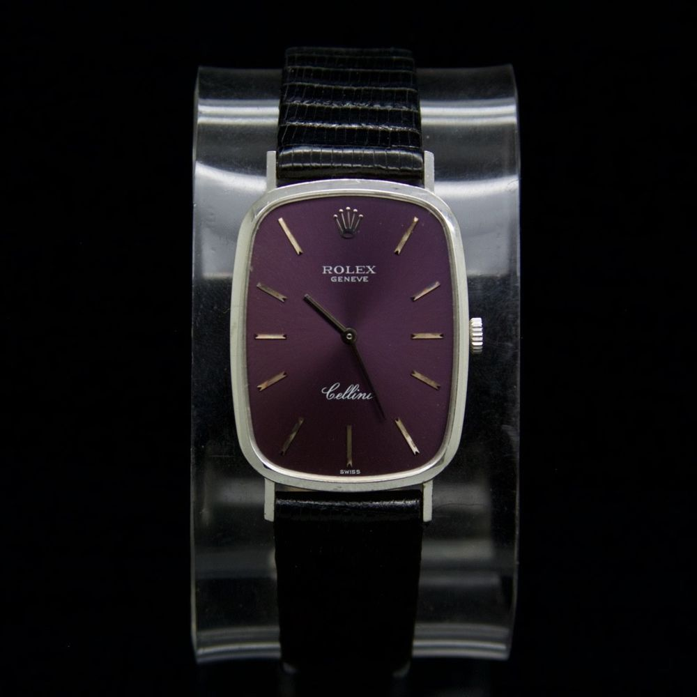 Rolex Geneve Cellini Swiss Made 18k White Gold Wind Movement Purple Dial Watch 18k White Gold Rolex White Gold