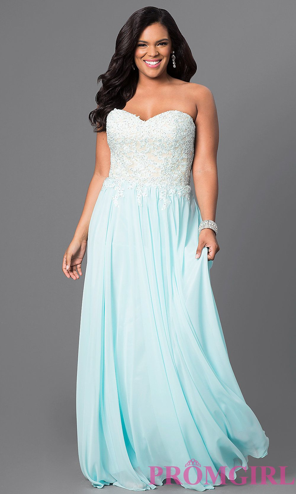 This floor length strapless prom dress has a lace embellished bodice
