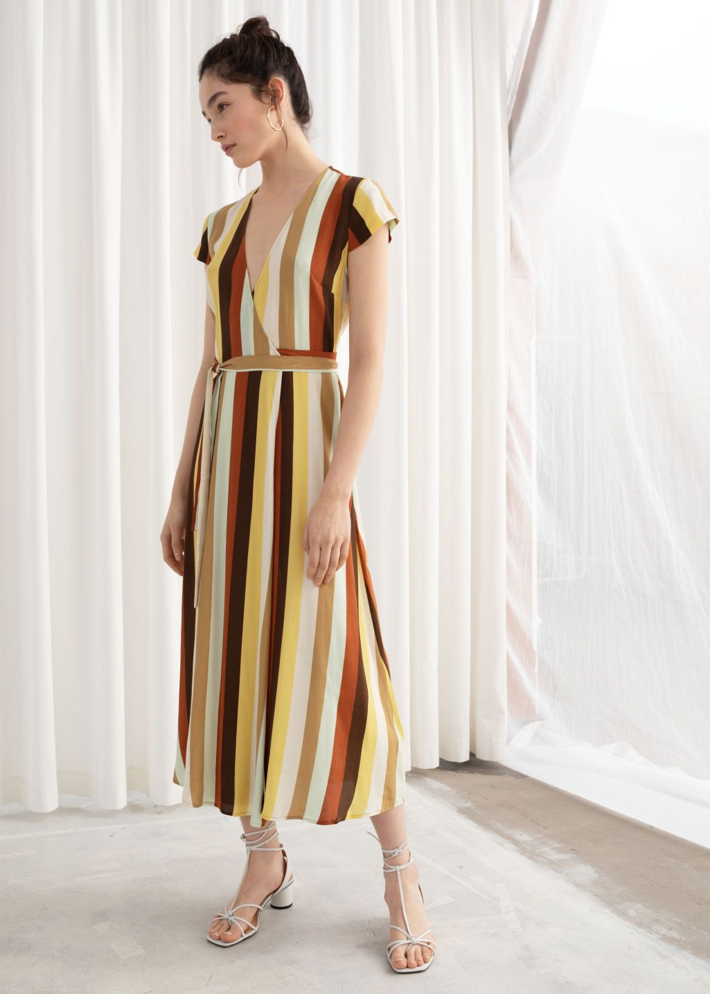73e138dd6cc3a Striped Midi Wrap Dress - Yellow - Maxi dresses - & Other Stories