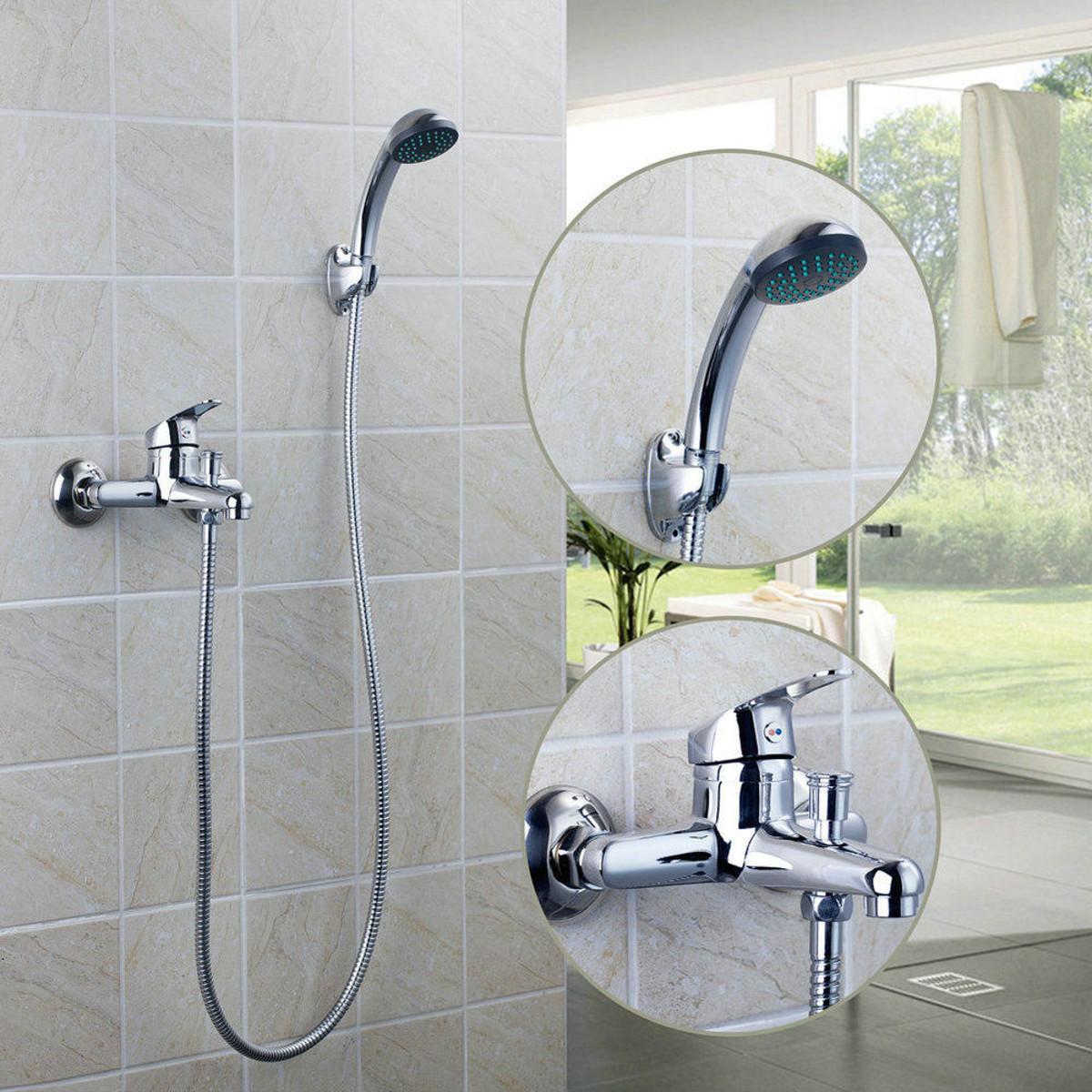 The Chrome Wall Mounted Bathroom Bathtub Shower Faucet Set Mixer