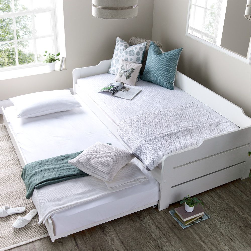 Copella White Wooden Day Bed with Guest Bed White wooden