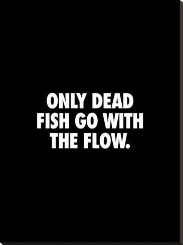 'Only Dead Fish Go With the Flow' Stretched Canvas Print - Brett Wilson | Art.com