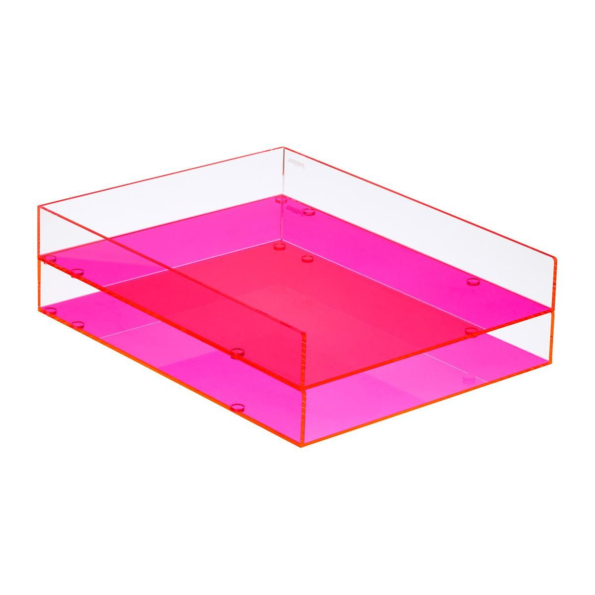 poppin neon pink acrylic stackable letter tray | letter tray