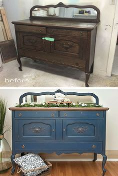 Before & After Painted and Stained Vintage Buffet Makeover. I used DBP's Bunker Hill Blue and Minwax Chestnut Gel Stain to get this look. The color really updated the piece while keeping the authenticity and character of this piece. A fun makeover! | Salvaged Inspirations #salvagedinspirations #paintedfurniture #furnituremakeover