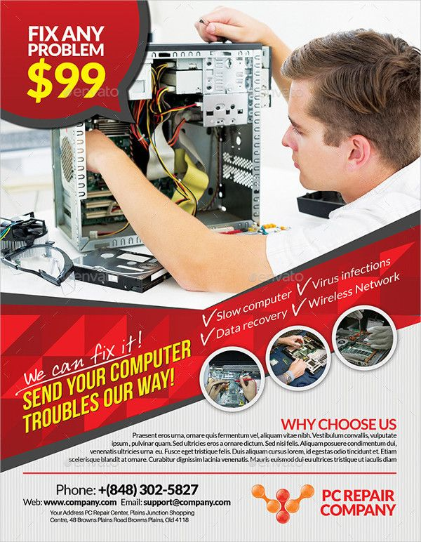 Computer Products Repair Flyer Template Computer Repair Computer Repair Services Photographer Business Card Template