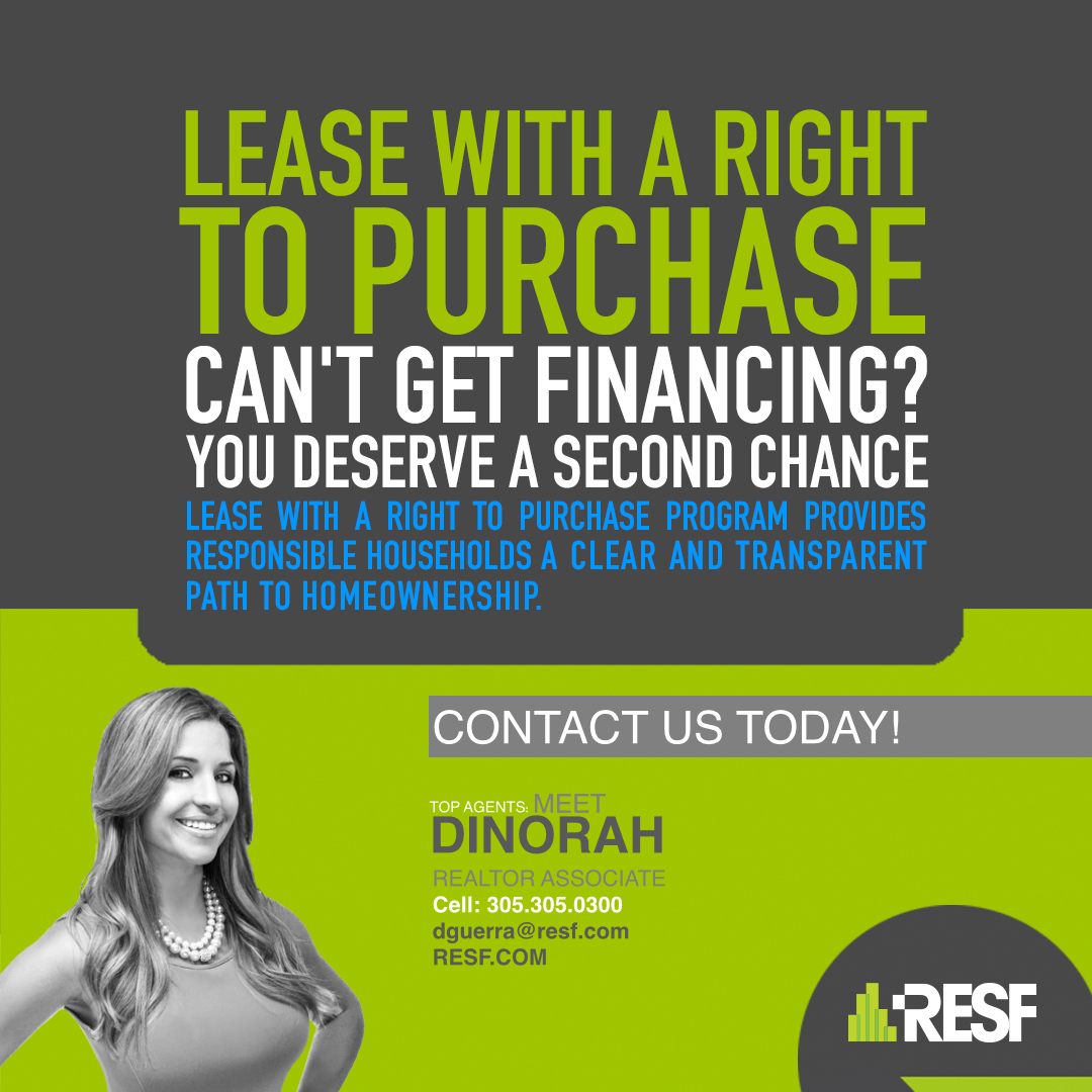 Lease with a right to purchase! Cant get financing? You deserve a second chance! Call us now for more information on this program. (305) 392-1497 or www.resf.com