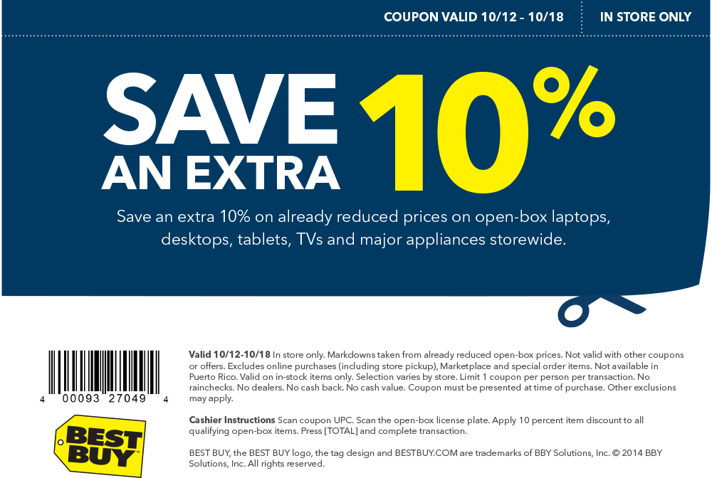 Pinned October 13th Extra 10 Off Open Box Items At Bestbuy Coupon Via The Coupons App Best Buy Coupons Free Printable Coupons Buy Coupons