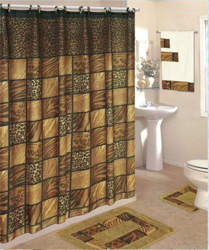 18 Piece Bath Rug Set Shower Curtain Towels Leopard Home Style Studio