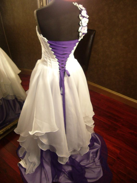 Corset Fantasy Fairy Wedding Dress In Ivory And Purple