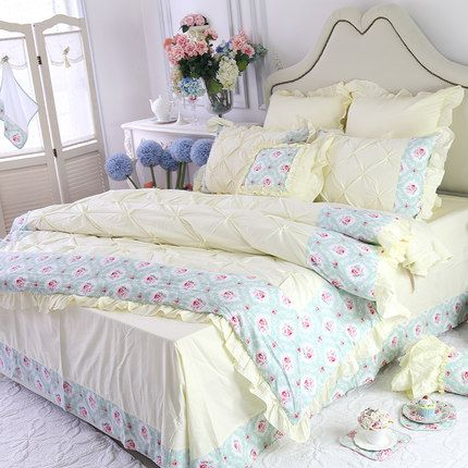 Flower Cotton Princess Bedding 4pcs, White Bedding With Small Flowers
