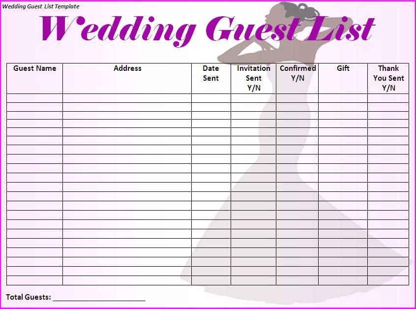 Wedding guest list will contain names of guests along with their