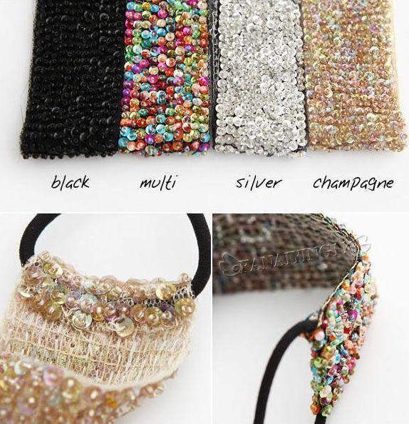 Fashion Diy Beaded Sequin Temperament Headband Wide Elastic Stretch Ha
