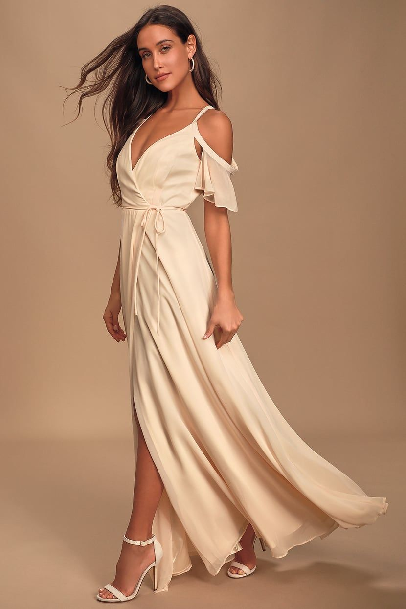 Easy Listening Gardenia Cold Shoulder Wrap Maxi Dress In 2020 Maxi Wrap Dress Dresses Cold Shoulder Wedding Dress