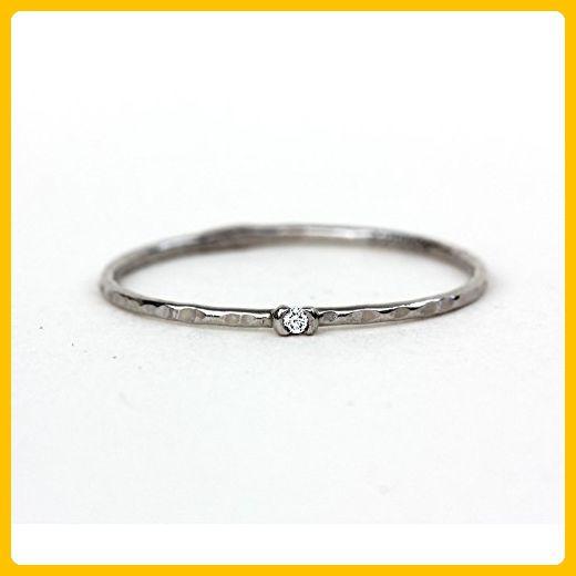 Petite Diamond Hammer Texture Ring - Thin Stacker Ring - Solid 14k Palladium White, 14k Yellow Gold, 14k Rose Gold, 950 Palladium, Platinum - Wedding Band, Engagement, Anniversary, Promise Ring - Wedding and engagement rings (*Amazon Partner-Link)