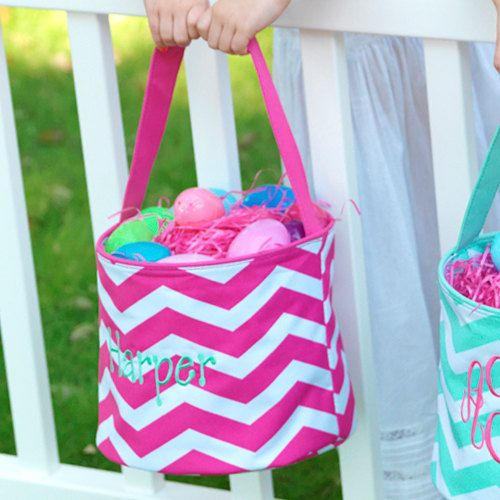 Pink Chevron Easter Basket - Personalized Monogrammed on Etsy, $17.75