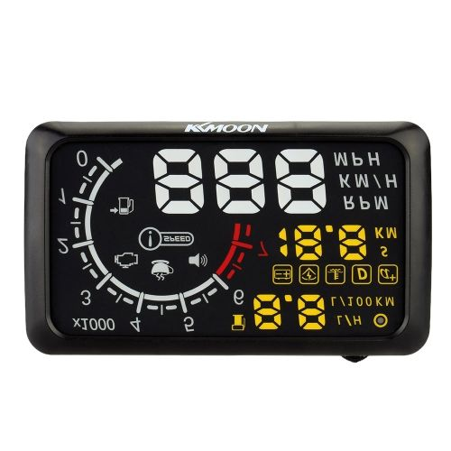KKMOON 5.5 Inch Car HUD Head Up Display KM/h & MPH Speeding Warning OBD2 Interface Windshield Project System with Bluetooth Function to Connect Phone PC