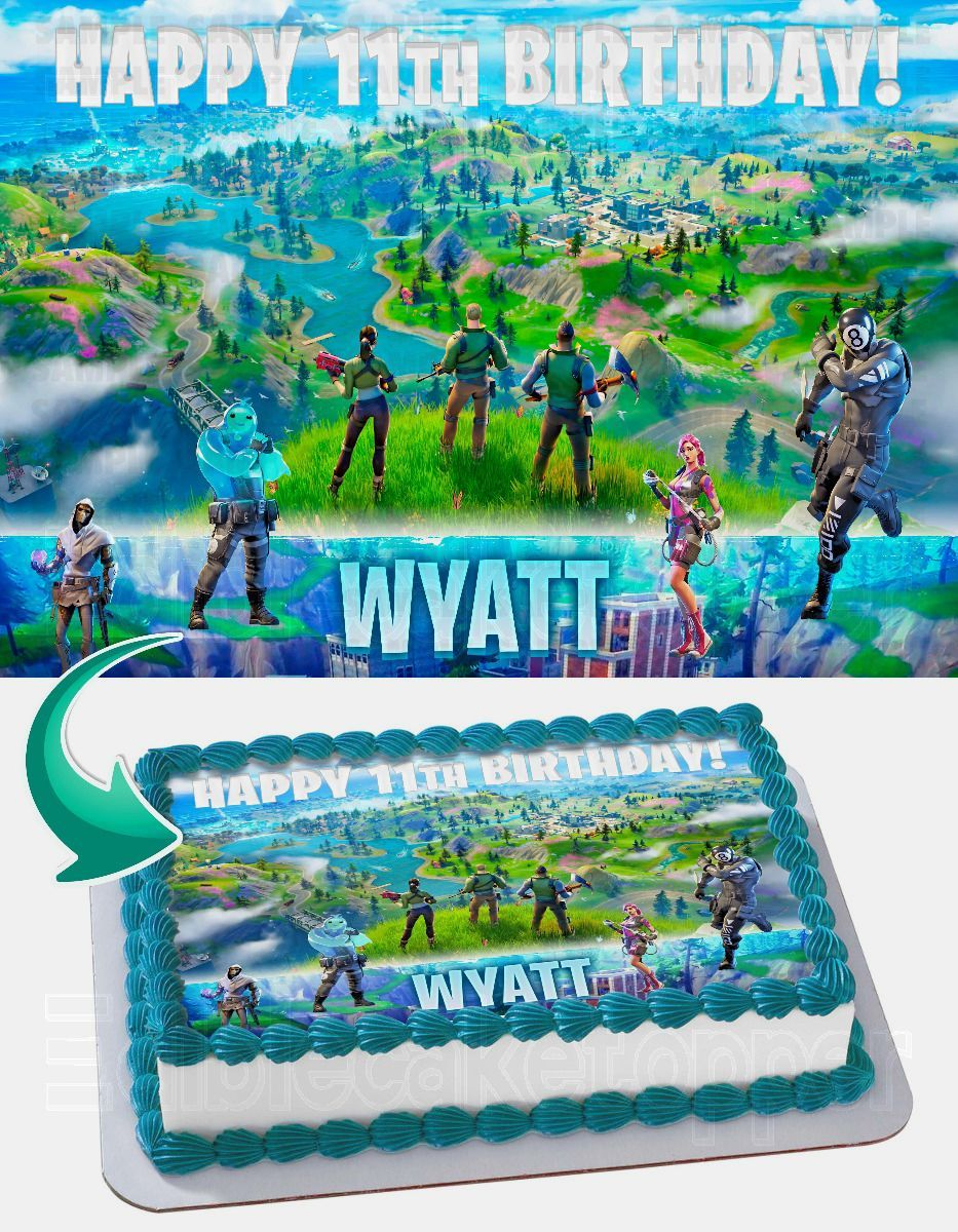 Fortnite Chapter 2 Edible Cake Image Topper Personalized Birthday Sheet Decoration Custom Party Frosting Transfer Fondant Edible Image Cake Topper Edible Image Cake Edible Cake