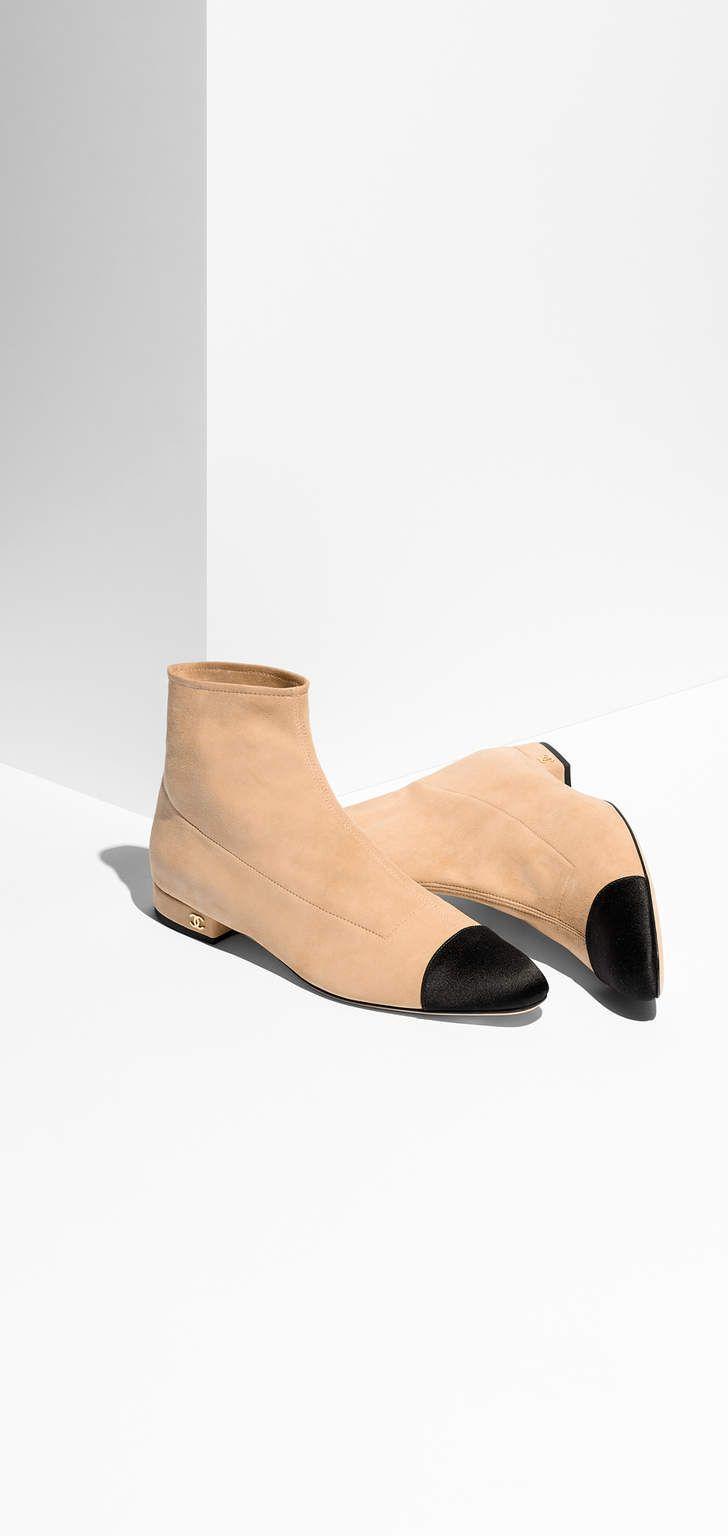 4389b7248bae16 CHANEL - beige & black, suede goatskin & satin short boots   JEWELRY ...