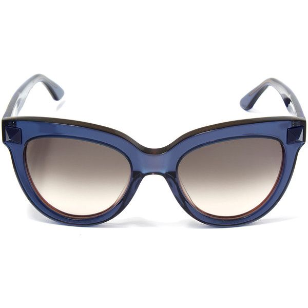 Valentino Blue Cat Eye Stud Sunglasses ($330) ❤ liked on Polyvore featuring accessories, eyewear, sunglasses, retro style sunglasses, acetate glasses, studded sunglasses, valentino sunglasses and retro cat eye glasses