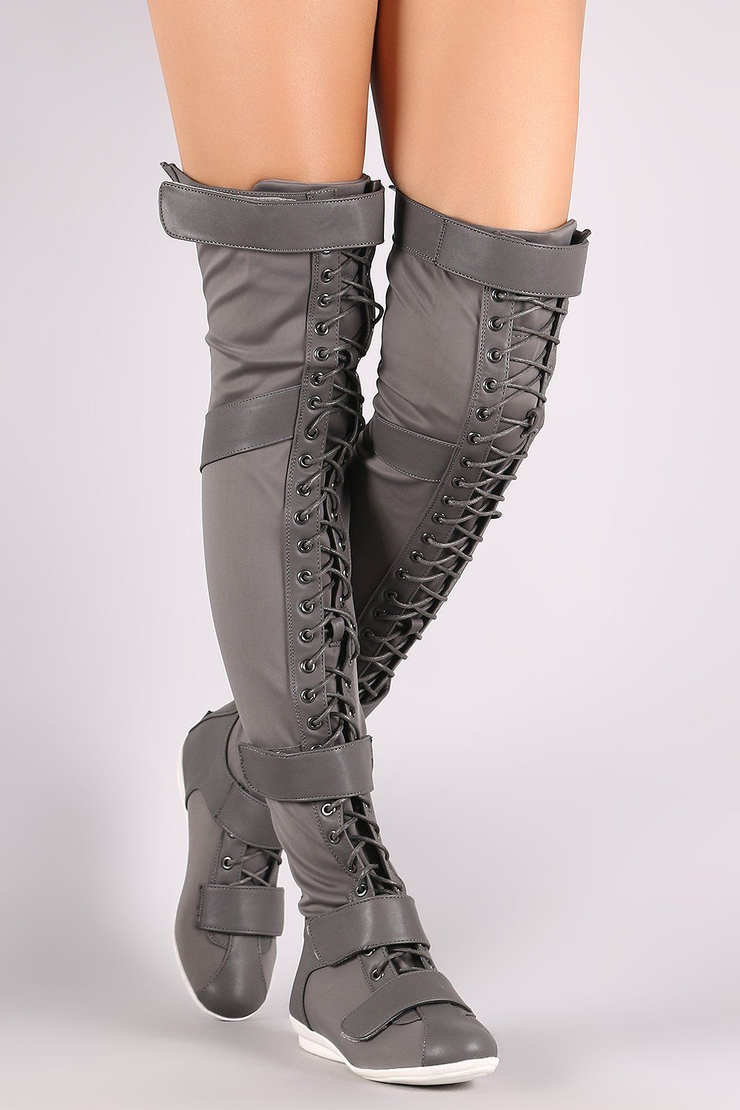 Liliana Hook And Loop Lace Up Strappy OverTheKnee Flat