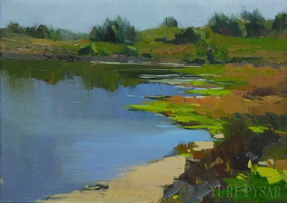 Blue green landscape painting lake, oil painting water nature modern art