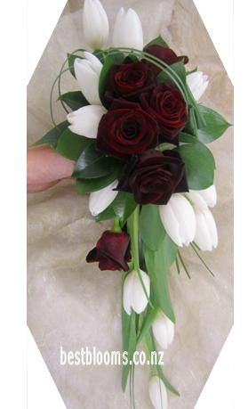 Elegant Bridal Boquet Of Black Magic Roses And White Tulips Wedding Flower Photos Cascading Wedding Bouquets Teardrop Bouquet