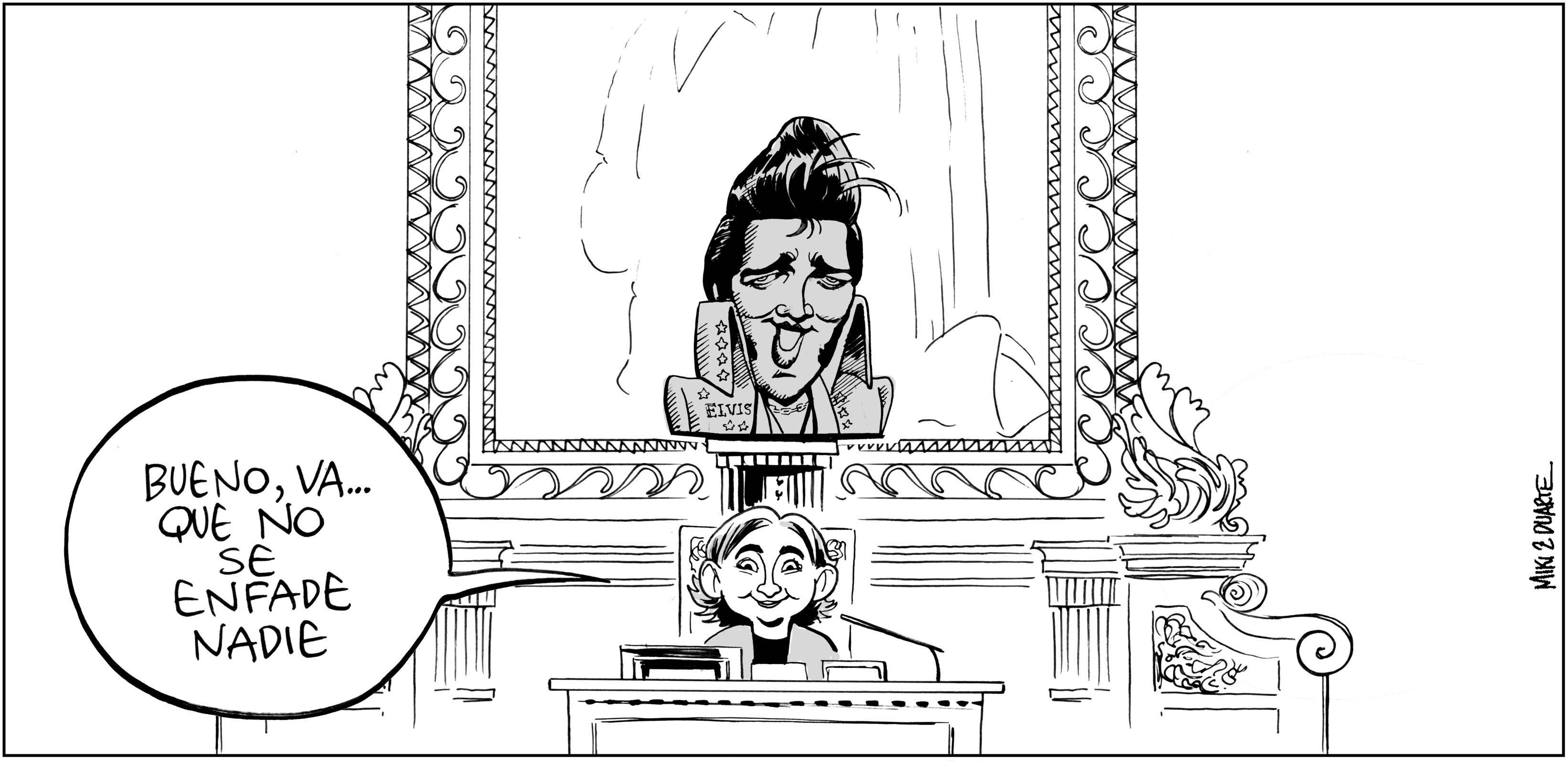 Ada Colau y el busto del Rey. M&D-24-Julio-2015-01