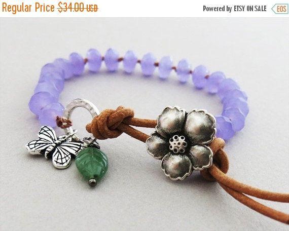 SALE Boho knotted bracelet lavender jade by MiaBellaJeweleria