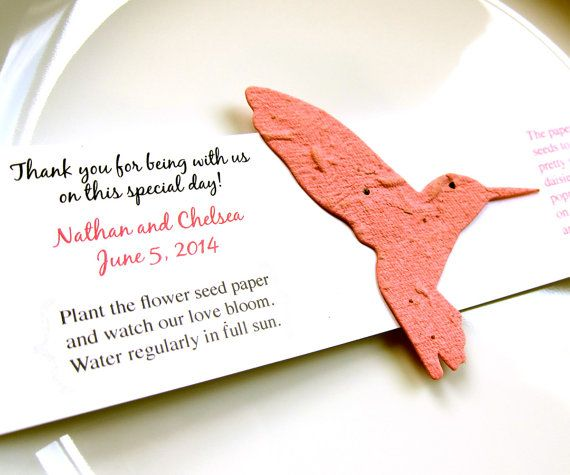 10 Seed Paper Hummingbird Wedding Favors Plantable Paper Favors