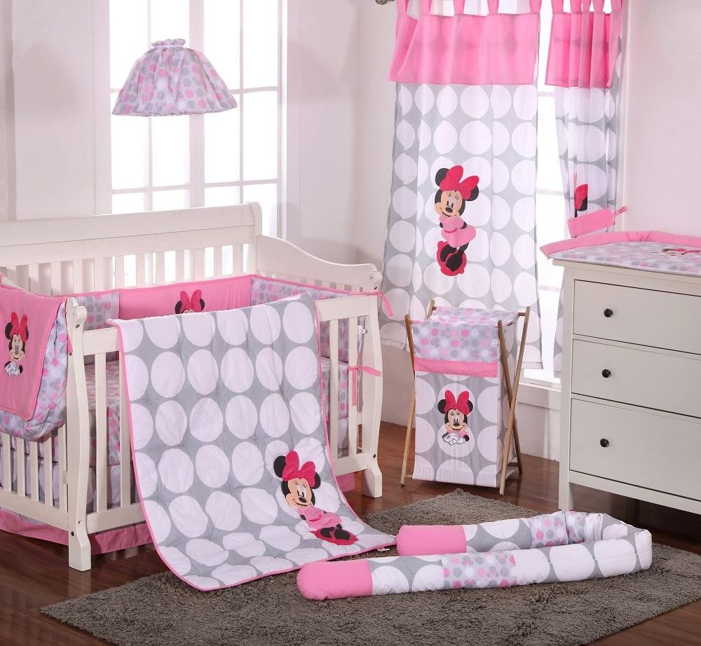 Disney Baby Minnie Mouse Polka Dots 4 Piece Crib Bedding Set