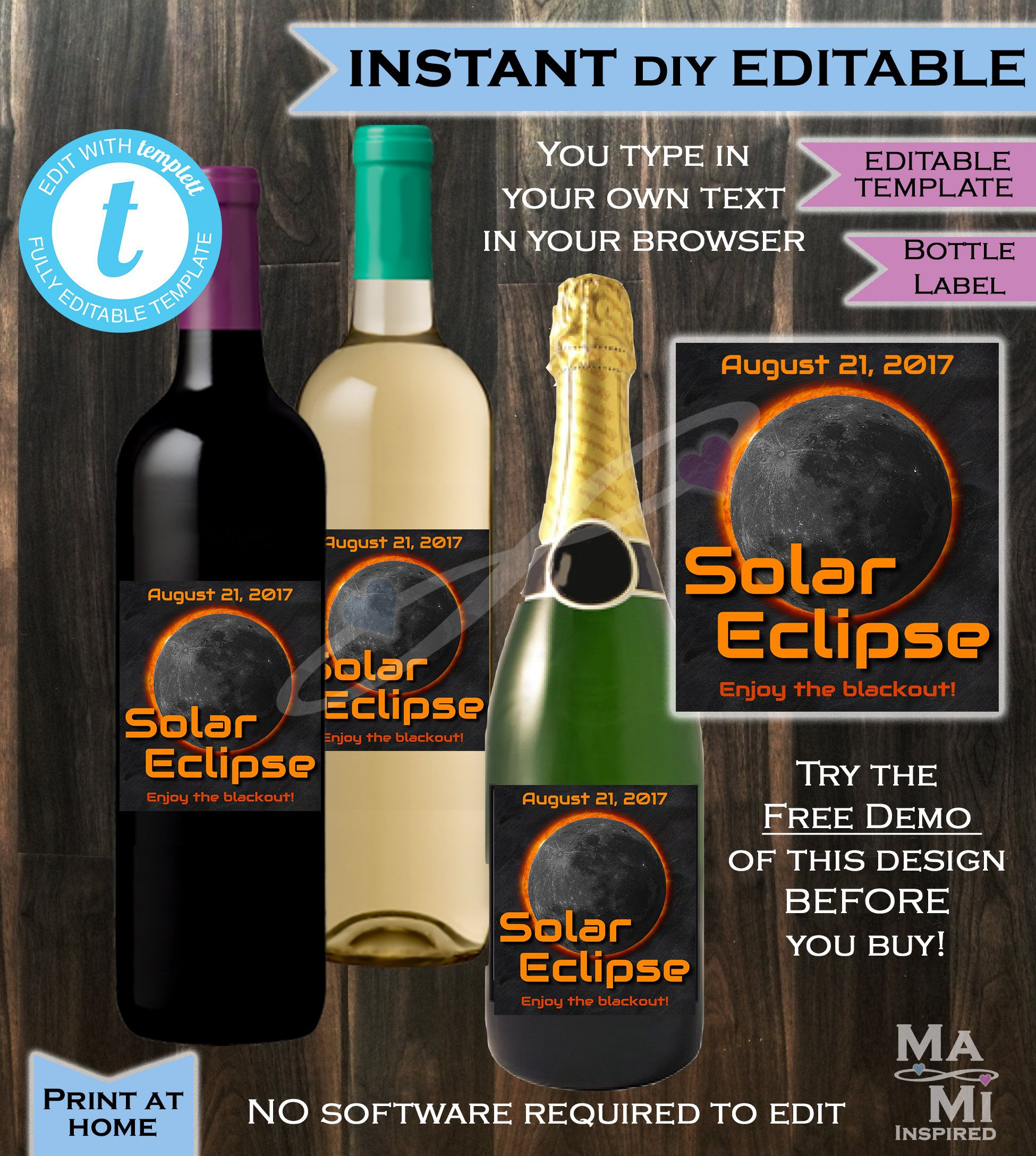 Instant Self Editable Solar Eclipse Wine Label Total