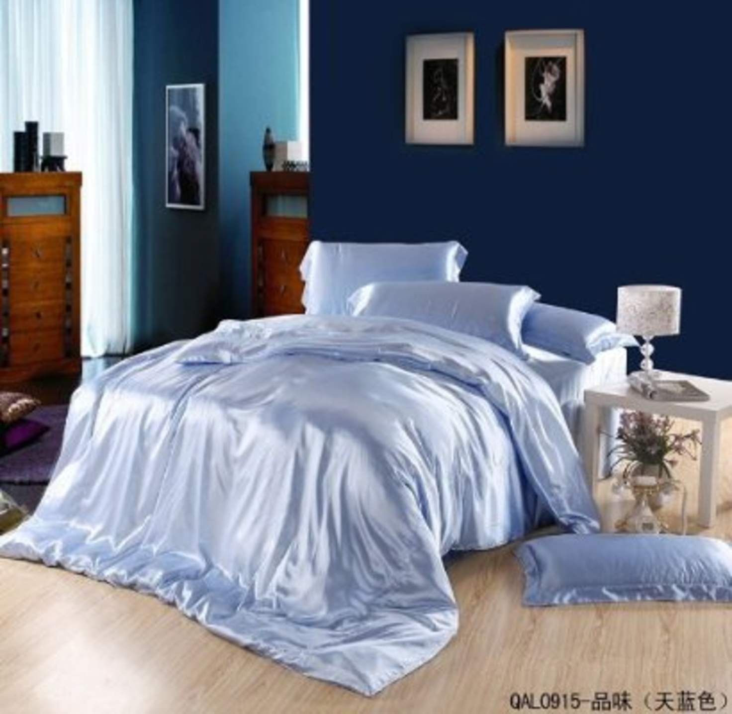 Great Taste Sky Blue Duvet Cover Set Silk Bedding Luxury Bedding Queen Size Fitted Bed Sheets Blue Duvet Satin Bedding