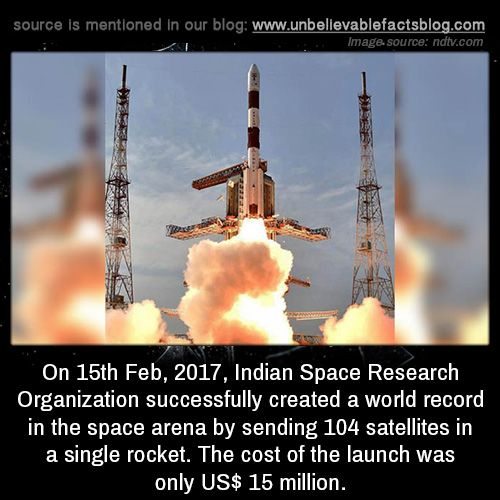On 15th Feb 2017 Indian Space Research Organization Successfully Created A World Record In The Space Arena By Sending 104 Satellites In A Single Rocket The C