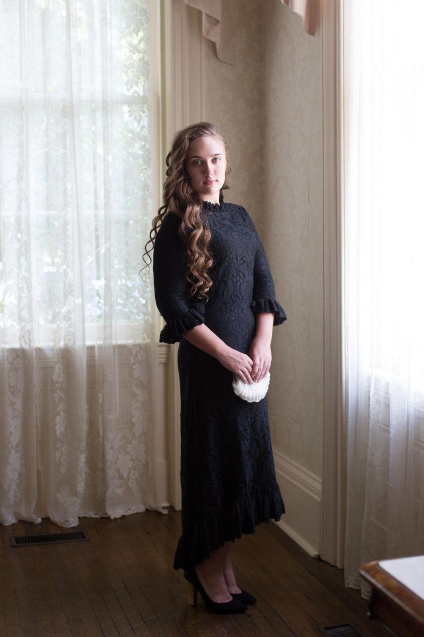 Modest black lace hamptons dinner dress modest bridesmaids dresses