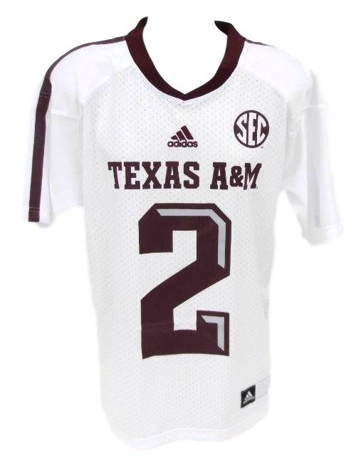 best service 02bd4 258c5 JOHNNY MANZIEL TEXAS A&M AGGIES WHITE ADIDAS REPLICA JERSEY ...