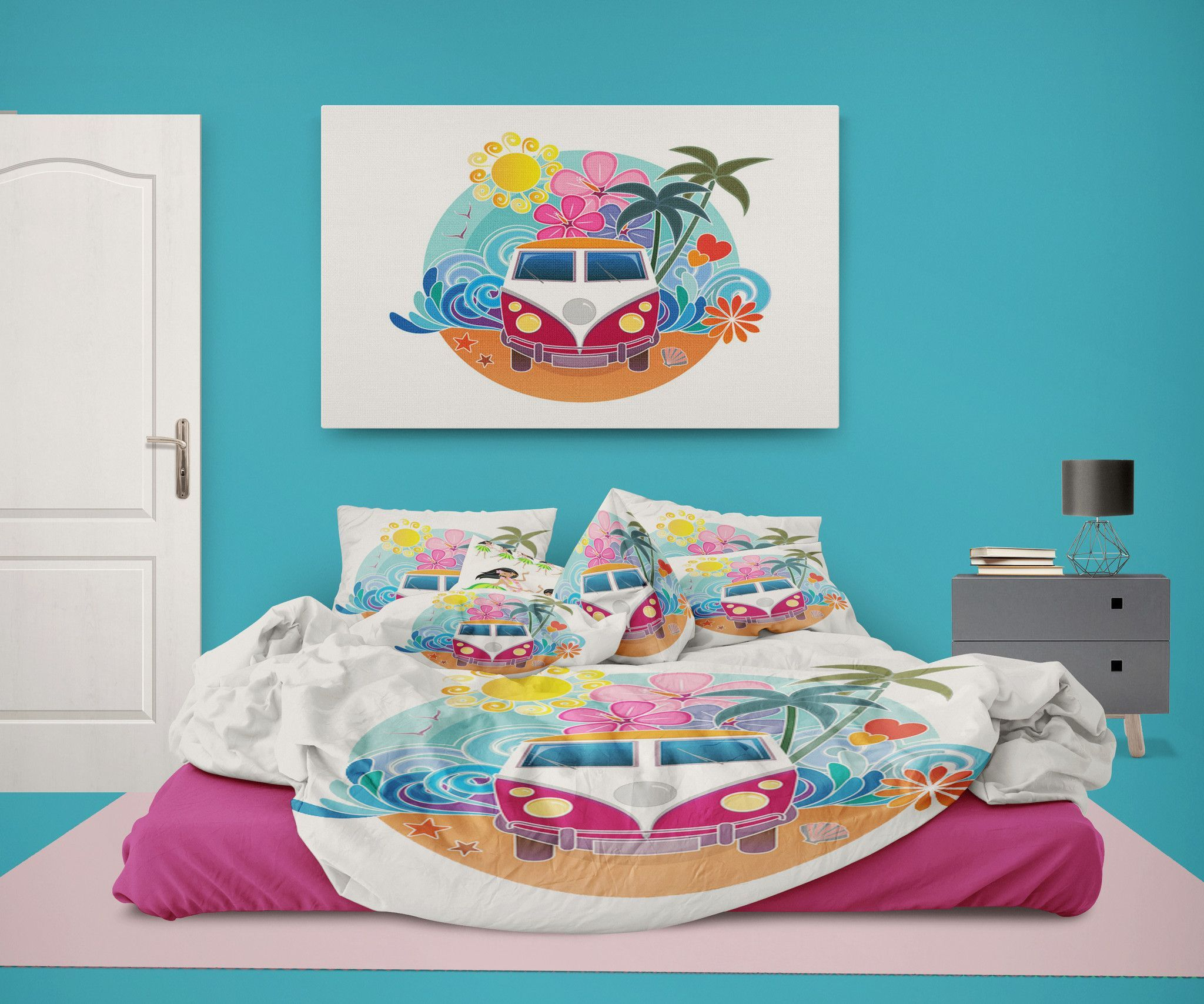 Surf Bus on the Beach Eco Friendly Comforter from Surfer ...