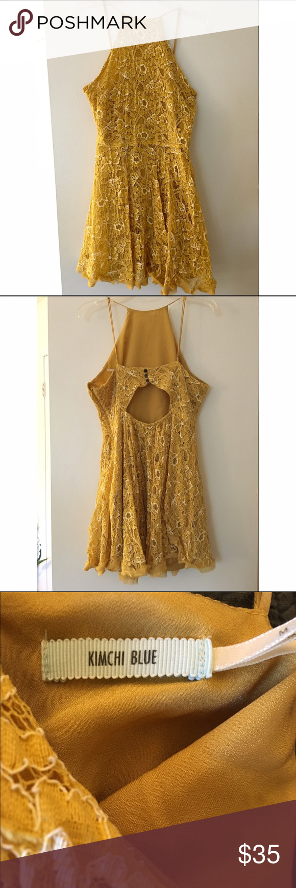 URBAN OUTFITTERS Yellow Lace Dress High Neck lace Urban Outfitters dress. A mix between mustard and golden hues. Only worn one time to a wedding. A little bit short, but covers everything important. Very comfortable. The hem is connected on one side, but not the other. Trust me, no one will notice other than you. Urban Outfitters Dresses Mini