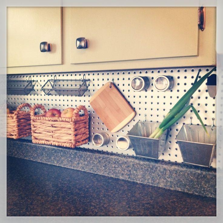 Pegboard Kitchen Storage: Interior. Inspiring Metal Pegboard Backsplash With Wall