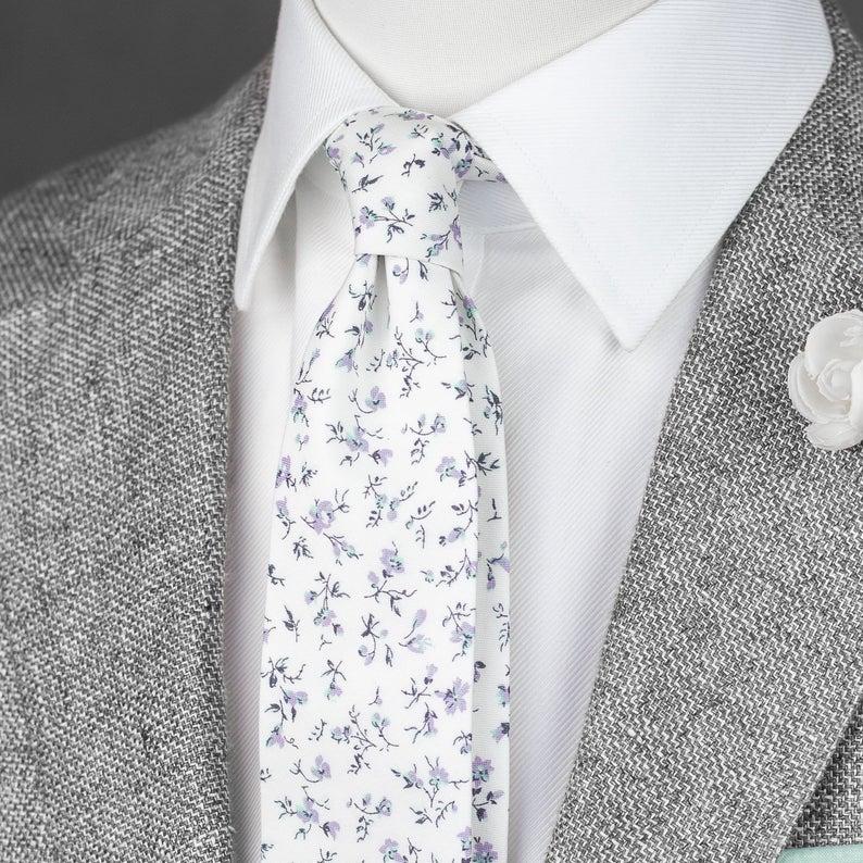 White Floral Tie Men S Skinny Cotton Tie Lavender Etsy In 2020 Mens Floral Tie Summer Wedding Ties Wedding Ties