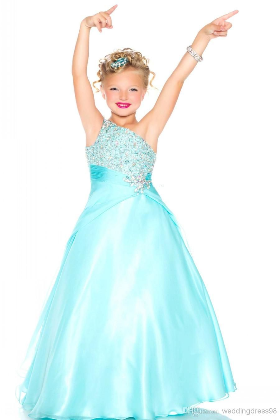 Cheap 2016 New Teal Cute Girls Pageant Dresses Size 10 Tulle Crystal ...