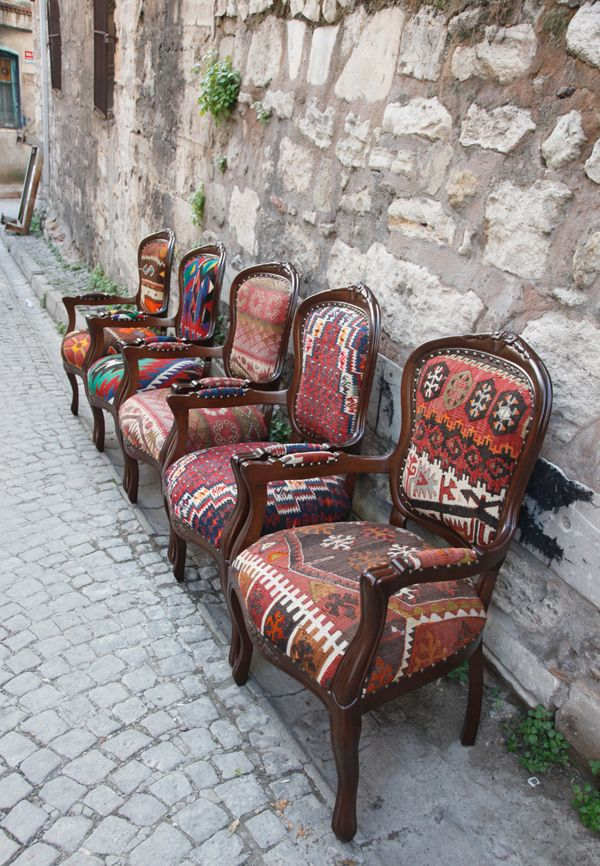 Using Rugs As Upholstery Kilim Covered Armchairs