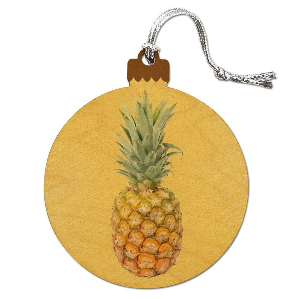 Hawaiian Christmas Tree Topper: Pineapple Fruit On Yellow Tropical Background Wood