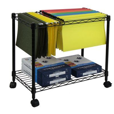 Oceanstar Design Portable 1 Tier Metal Rolling File Cart File Carts Office File Cabinets Portable