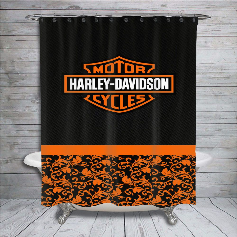 Harley Davidson Black Carbon Custom Print On Shower Curtain 60 X72
