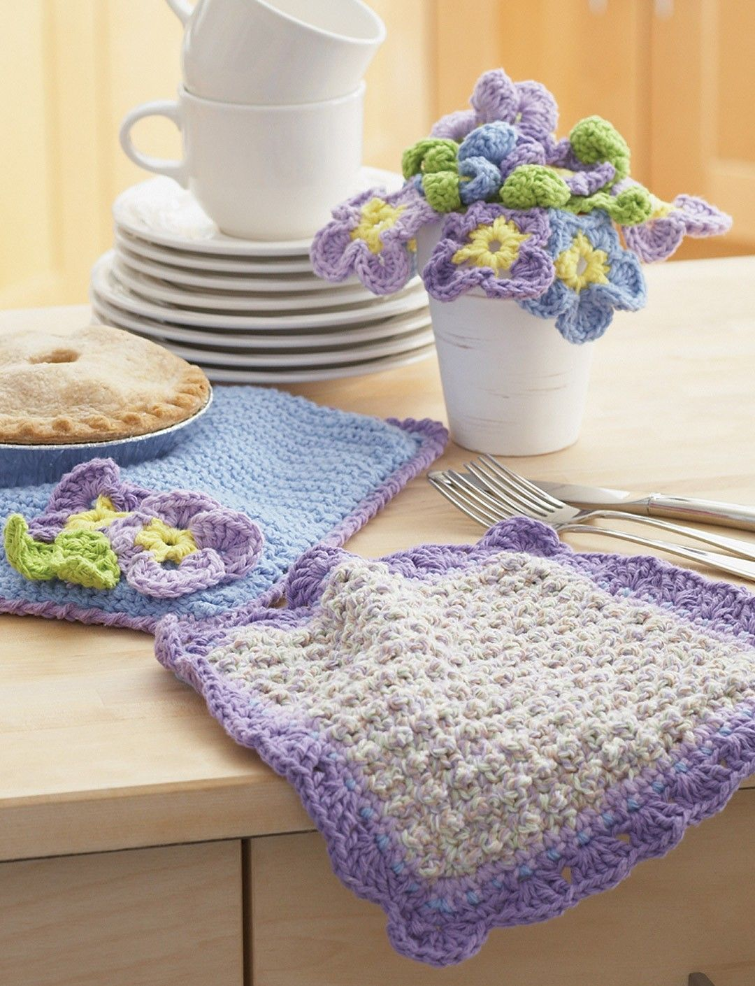 Yarnspirations.com - Lily Dishcloth and Pansy Potholder - Patterns ...