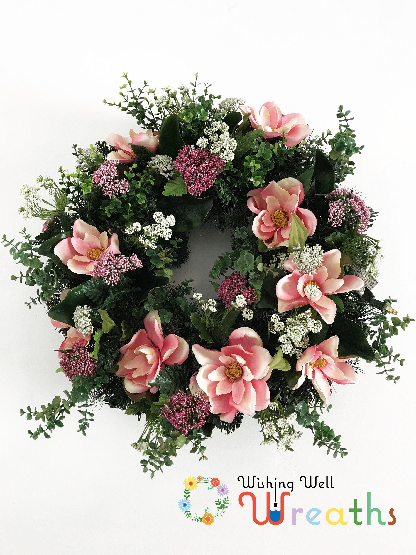 Photo of Pink magnolia wreath, magnolia wreath, pink floral wreath, pink floral spring wreath, everyday wreath, summer wreath, spring door decor