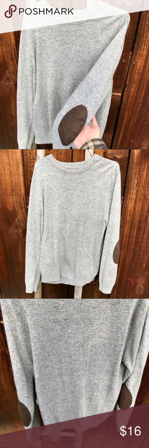 Elbow patch sweater | Oversized grey sweater, Elbow patch